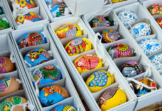 Various Eggs hand-painted  for sale Stock Image