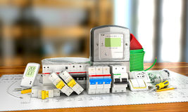 Various electric products on the store shelves. 3d illustration Stock Photography