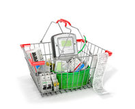 Various electric products on the store shelves. Stock Image