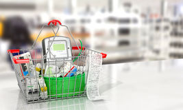 Various electric products on the store shelves. 3d illustration Stock Image