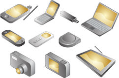 Various electronic gadgets, illustration Stock Photography