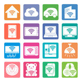 Various electronics appliances and wireless communication icon Royalty Free Stock Photo