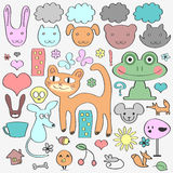 Various elements animals childish set Royalty Free Stock Photos