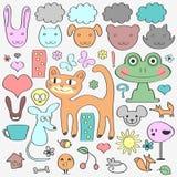 Various elements animals childish set. Various elements animals and nature. Cute babyish style stock illustration