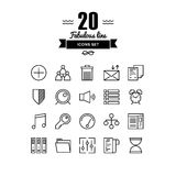 Various elements line icons set. Thin lines icons set of various basic elements, office management things, simple accounting web tools and user interface things Stock Images