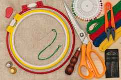 Various embroidery accessories Stock Photography