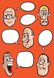 Various emotion faces with speech balloons vector set Stock Image