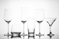 Various empty alcoholic glasses Stock Images