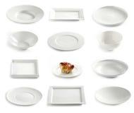 Various empty plates Royalty Free Stock Photos