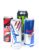 Various Energy Drink Brands Stock Photography