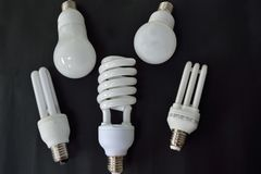 Various energy saving lamps - optional picture. Five energy saving lamps on black background - croped image stock image