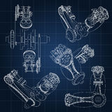 Various engine components, pistons, chains, nozzles and valves are depicted in the form of lines and contours. 3D Royalty Free Stock Photography