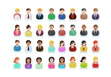 Various ethnic business people avatar icons. Illustration of a various ethnic business people avatar icons on isolated white background Stock Image