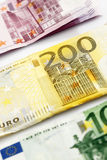 Various Euro bank notes in a row Stock Photo