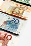 Various Euro bank notes in a row Royalty Free Stock Image
