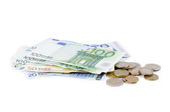 Various Euro currency bills and coins Royalty Free Stock Photo