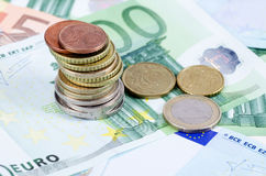 Various Euro currency bills and coins Royalty Free Stock Photos
