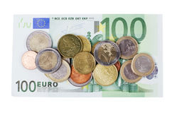Various Euro currency bills and coins Stock Photo