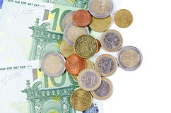 Various Euro currency bills and coins Royalty Free Stock Photography