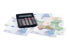 Various Euro currency bills and coins Royalty Free Stock Image