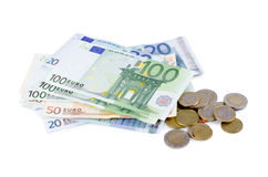 Various Euro currency bills and coins Stock Photos