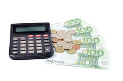 Various Euro currency bills and coins Stock Photography