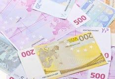 Various euro money banknotes to background Royalty Free Stock Photos