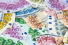 Various euro notes as background. Various euro notes fullframe background Stock Photography