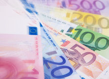 Various euro notes background Stock Photos