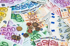 Various euro notes and coins as background Stock Photography