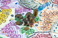 Various euro notes and coins as background Royalty Free Stock Image