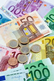 Various euro notes and coins as background Stock Photo