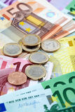 Various euro notes and coins as background Royalty Free Stock Images