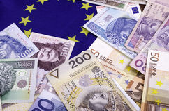 Various European currencies of different face values. Stock Image