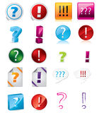 Various exclamation and question icon designs Royalty Free Stock Image