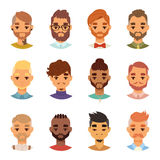 Various expressions bearded man face avatar fashion hipster hairstyle head person mustache vector illustration. Stock Images