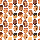 Various expressions bearded man face avatar fashion hipster hairstyle head person mustache vector seamless pattern. Royalty Free Stock Images
