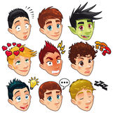 Various expressions of boys. Stock Photo