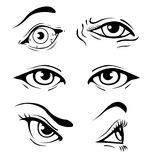 Various Eyes. Various Illustrated hand drawn human eyes Stock Images