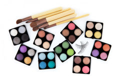 Various eyeshadow palettes Royalty Free Stock Images