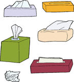 Various Facial Tissue Objects. Various types of facial tissue packages on white background Royalty Free Stock Image
