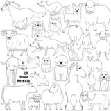 Line art Doodle of UK breed animals. Various farm and pet animals animals bred in UK, cute domestic animal line art doodle set royalty free illustration