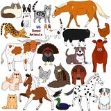 Doodle of US breed animals. Various farm and pet animals animals bred in USA, cute domestic animal doodle set vector illustration