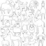 Line art Doodle of Asian breed domestic animals. Various farm and pet line art animals bred in Asia, cute domestic animal doodle set royalty free illustration