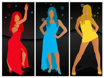 Various Fashion Poses in Dresses Stock Photography