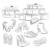 Various fashion shoes and boxes Stock Image