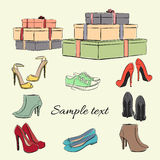 Various fashionable color shoes and boxes Stock Photos