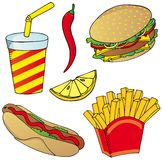 Various fast food collection 02 Royalty Free Stock Image