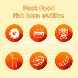 Various fast food and drink icon lined set royalty free illustration
