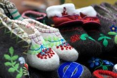Various felt slippers Stock Photos